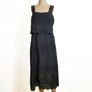 J. Crew Black Tiered Eyelet Midi Dress 4